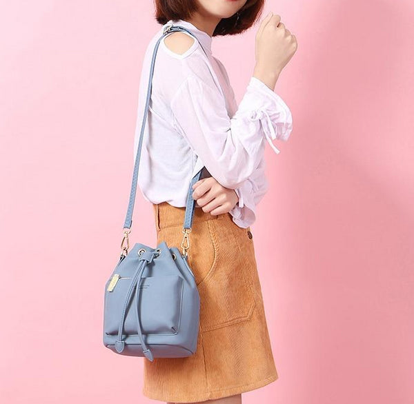 Women's Fashion Bucket Style Shoulder Bag with Drawstring