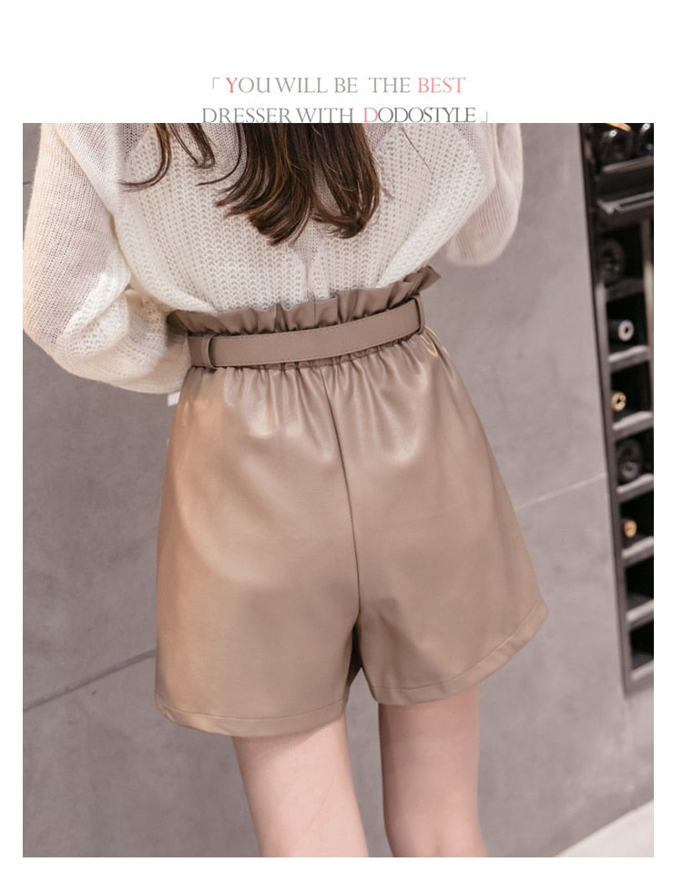 Women's PU Leather Wide-legged Ruffled Shorts