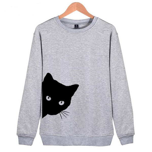 Women's Cat Looking Out Side Print Sweatshirts