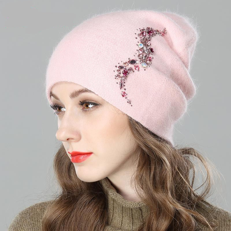 Women's Angora Type Knitted Cap with Decoration