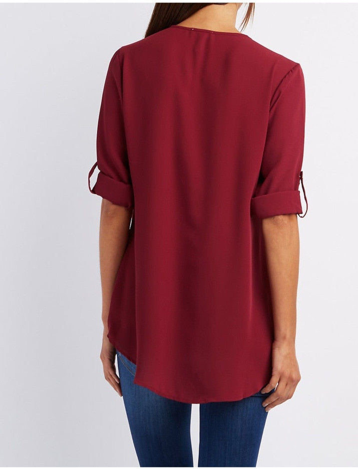 Women's V-neck Chiffon Zipper Blouse