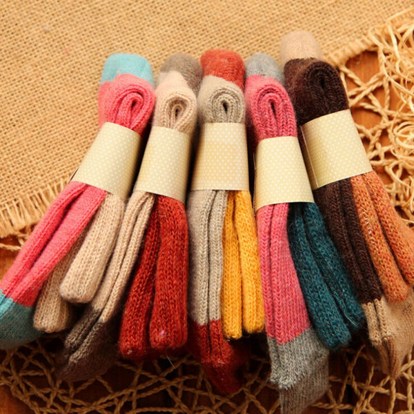 Women's 5 Pairs Thick Wool Multi Colored Thermal Socks