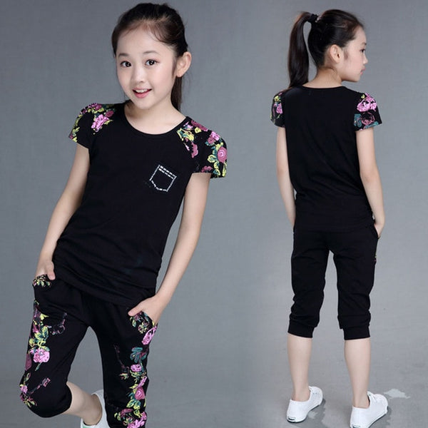 Kid's Girls Cotton Short Sleeve T-shirt and Pants Set