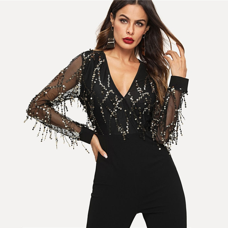 Women's Sequin Embellished Mesh Sleeve Fitted Jumpsuit