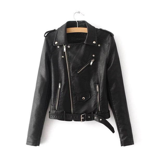Women's Short Faux Soft Leather Motorcycle Jacket