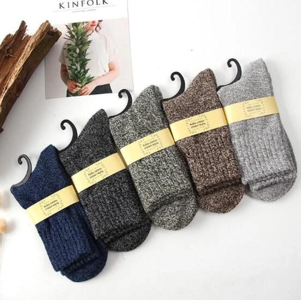 Men's Wool Thick Cotton Socks - 5 Pairs