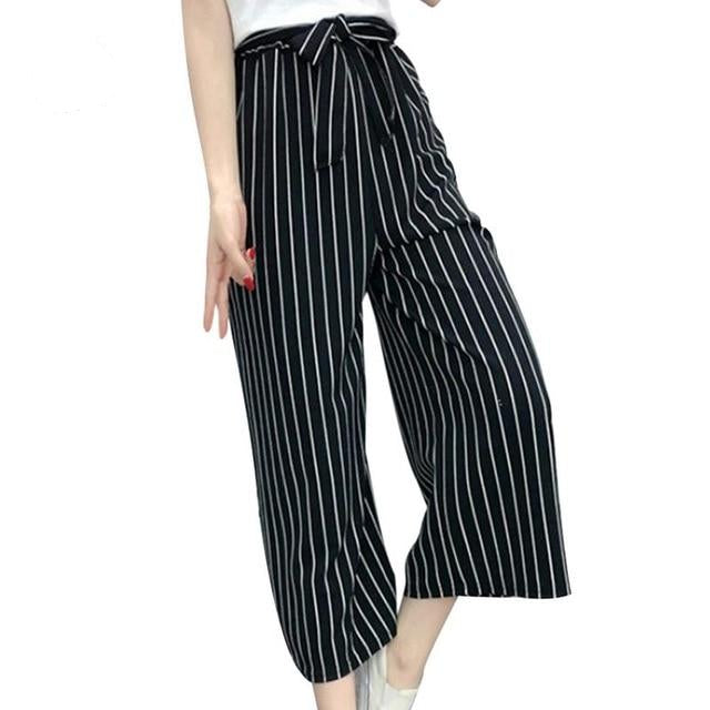 Women's Striped Style High Waist Crop Casual Pants