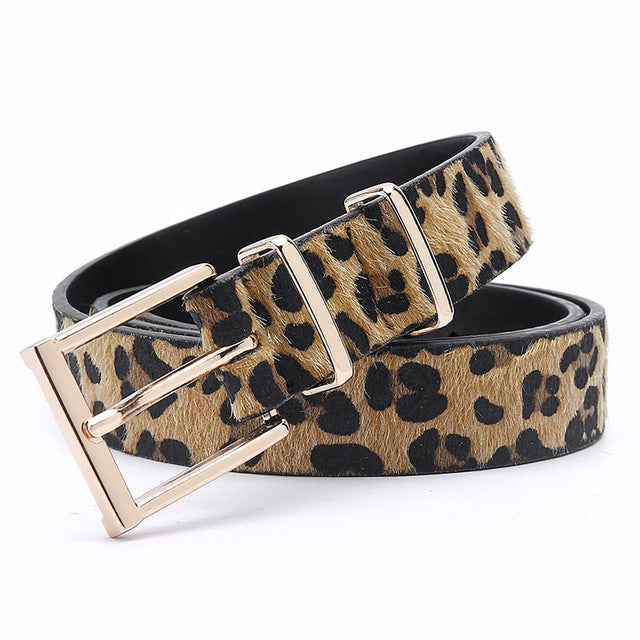Women's Horsehair Belt With Leopard Pattern and Rose Gold Metal Buckle