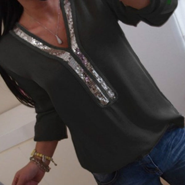 Women's V-Neck Sequin Chiffon Blouse
