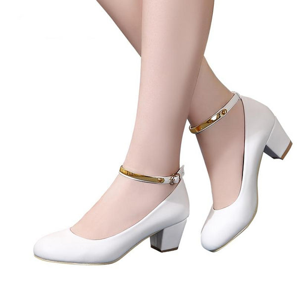 Women's High Heel Pumps with Ankle Wrap