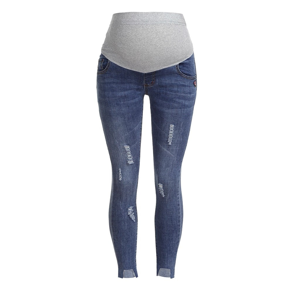 Women's Loose Stretch Ripped Style Maternity Jeans