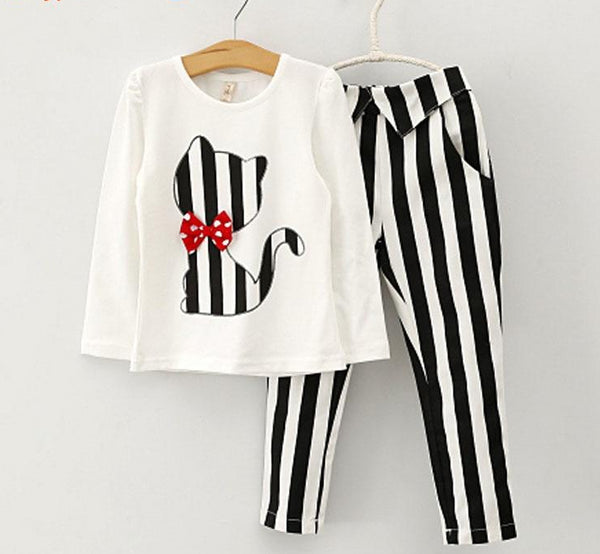 Kid's Girls Long-Sleeve T-Shirt + Stripe Leggings