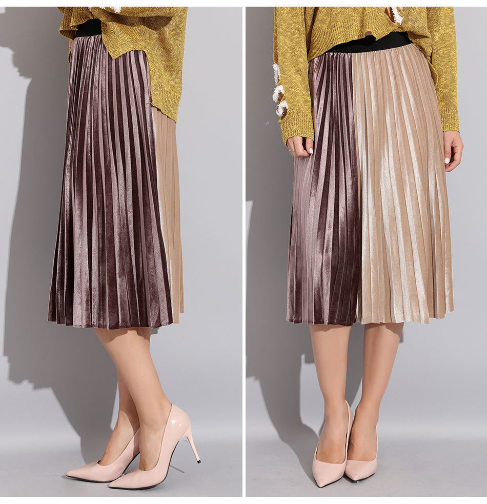 Women's Pleated Velvet Two Color High Waist Skirt