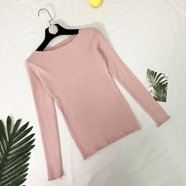 Women's Frill Round Neck Sweater