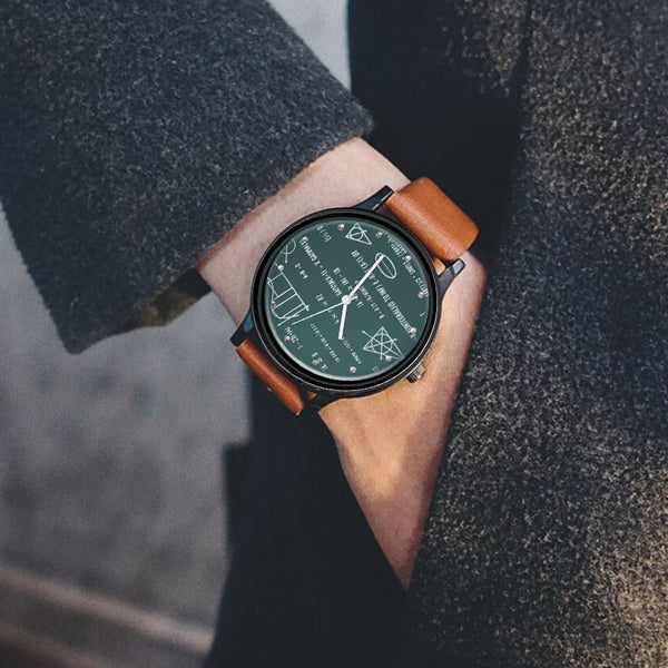 Men's Leather Mathematical Formula Fashion Watch