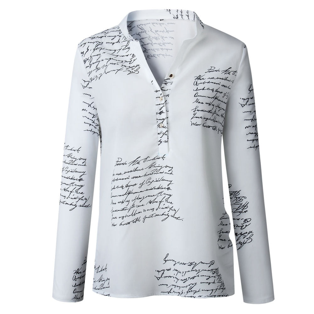 Women's V Neck Casual Letter Printed Blouse