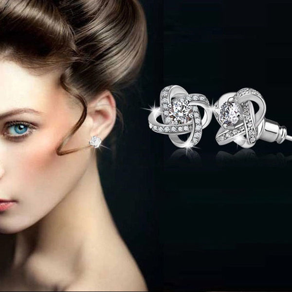 Women's Crystal 925 Sterling Silver Knot Flower Stud Earrings