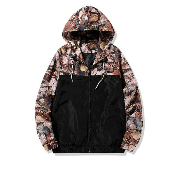 Men's Hunting Camo Trees and Leaves Camouflage Hooded Windbreaker