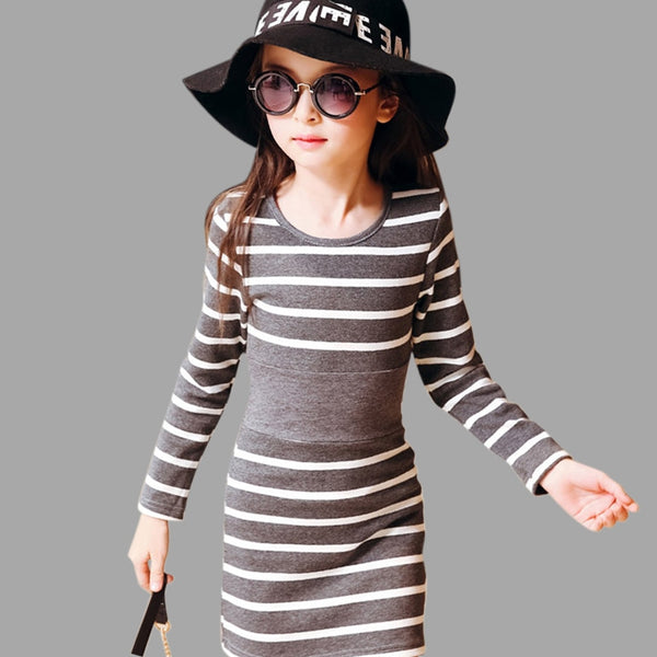 Kid's Girls Cotton Striped Long Sleeve Dress
