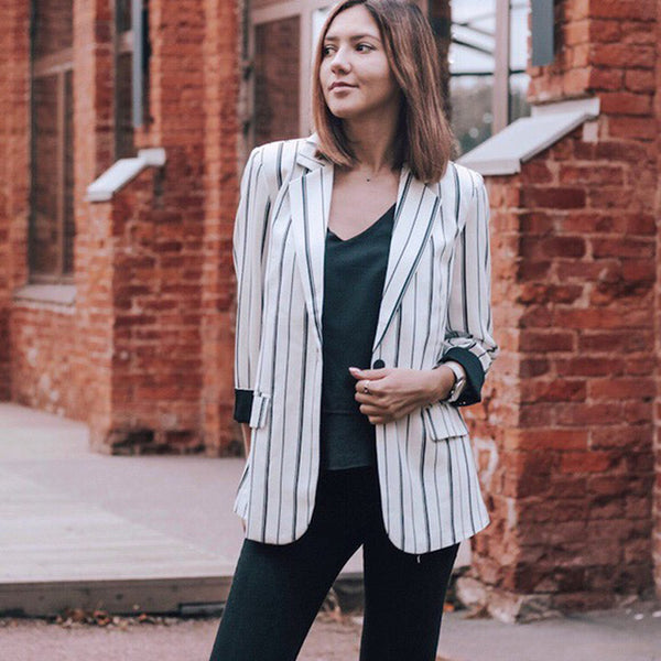 Women's Striped Vintage High Quality Elegant Blazer