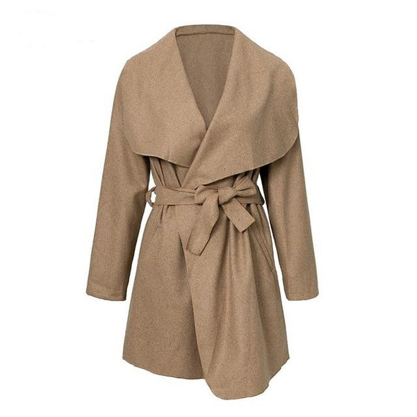Women's High Fashion Bow Wrap Mid Length Coat