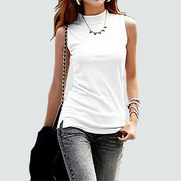 Women's Sleeveless Solid Color Cotton Tank Top