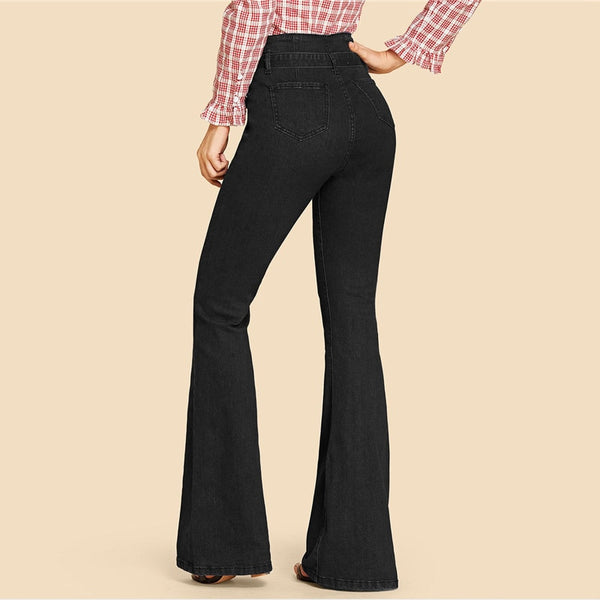 Women's High Waist Vintage Long Flare Leg Belted Jeans