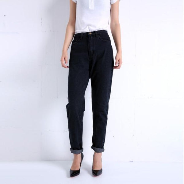 Women's Slim Pencil Pants Vintage High Waist Jeans
