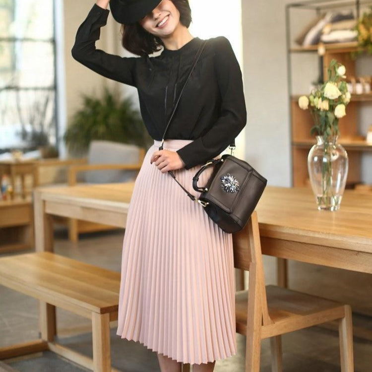 Women's Pleated Solid Color Half Length Elastic Skirt