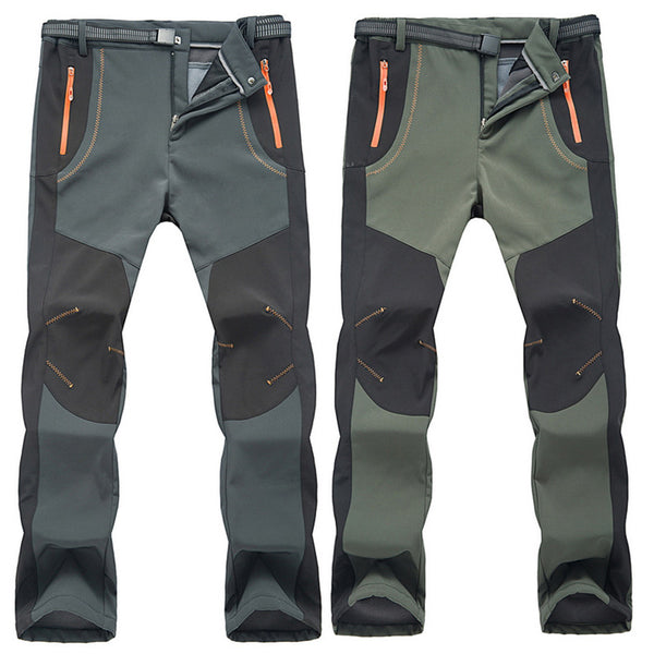 Men's Fleece Lined Tactical Zipper Pocket Waterproof Cargo Pants