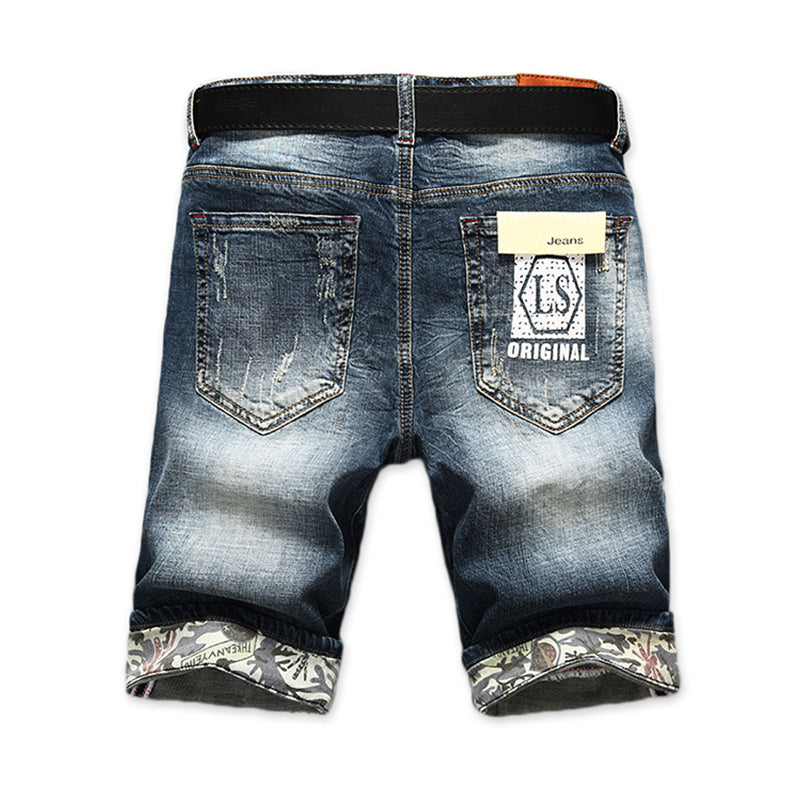 Men's Fashion Trim Ripped Cotton Jean Shorts