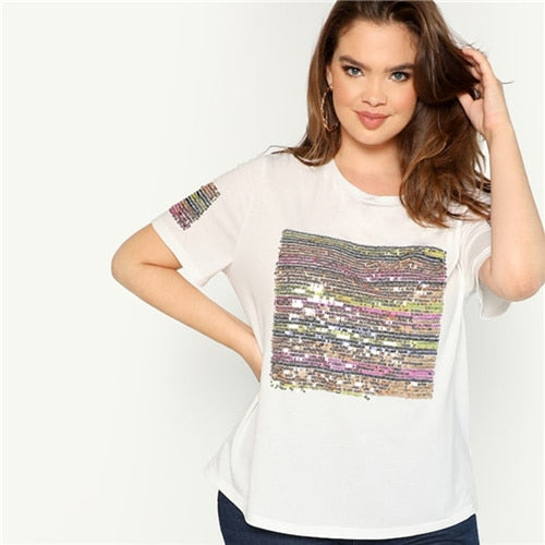 Women's Sequin Striped Short Sleeve Round Neck Tee