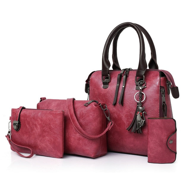 Women's Luxury Leather Purse and Handbags 4 Piece Set