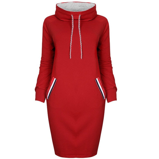 Women's Long Sleeve Turtleneck Sweatshirt Dress