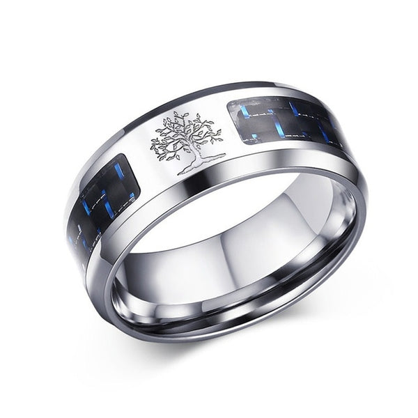 Men's 8mm Carbon Fiber Tree of Life Engraved Ring