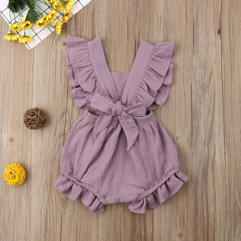 Kid's Baby Girl Solid Color Ruffle Romper Jumpsuit