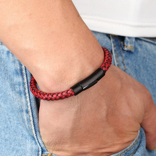 Men's Simple Leather & Stainless Steel Handwoven Bracelet