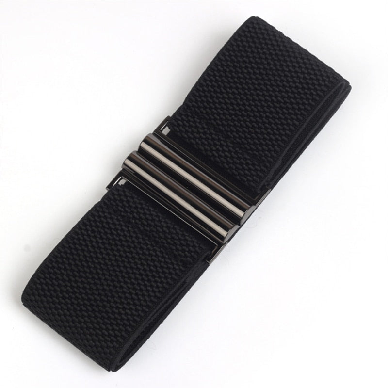 Women's Wide Elastic Double Metal Buckle Belt