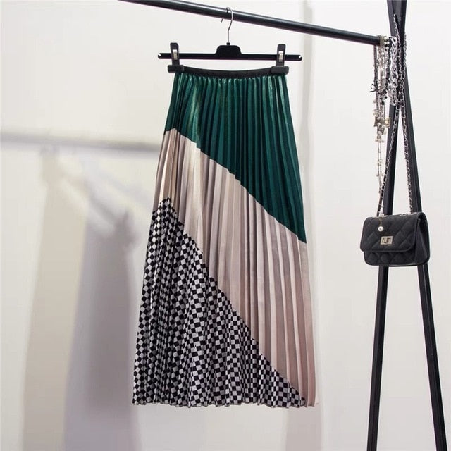 Women's Pleated Mid-Calf Skirt