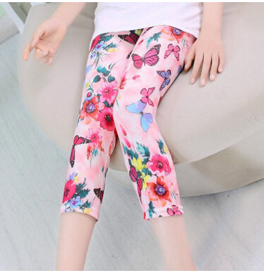 Kid's Girls Multi Colored Capri Leggings