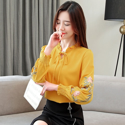 Women's Floral Embroidery Chiffon Blouse
