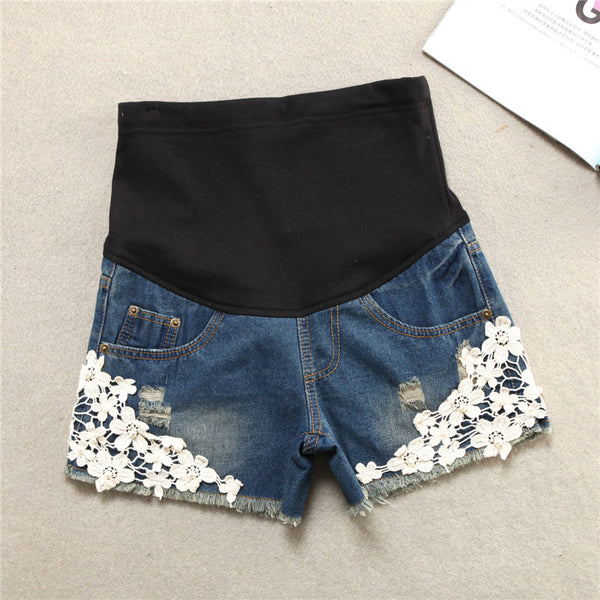 Women's Lace Embellished Denim Maternity Shorts