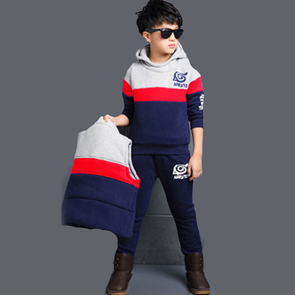 Boys Set Printed Long Sleeve Hoodie with Vest and Pants