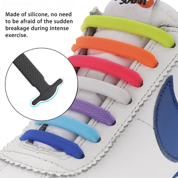 Women's 16 pcs Lazy Elastic Silicone No Tie Shoelaces