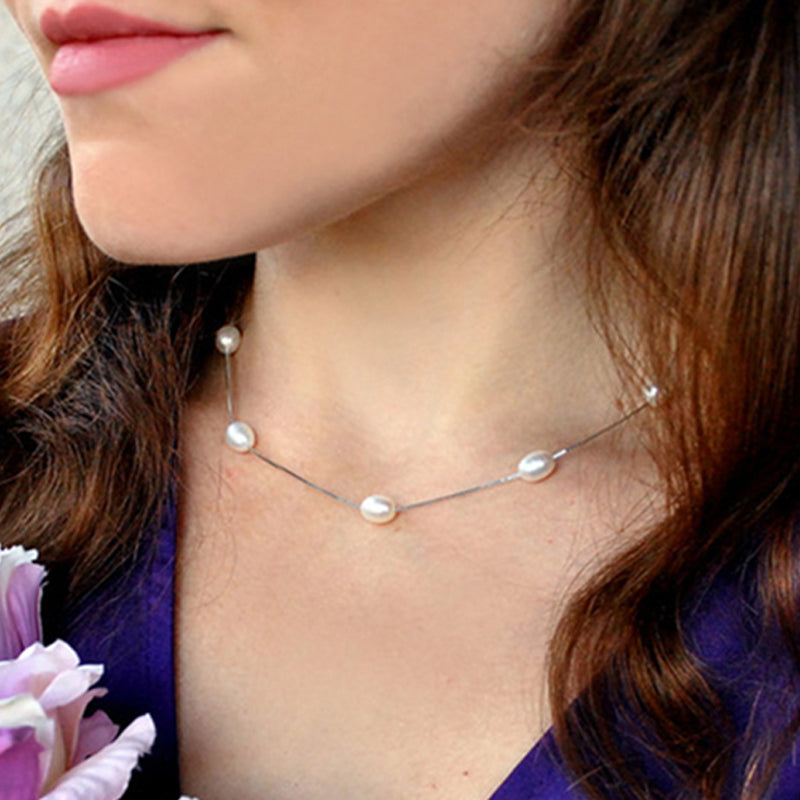 Women's 925 Sterling Silver Necklace Chain with 6-7mm Natural Freshwater Pearls