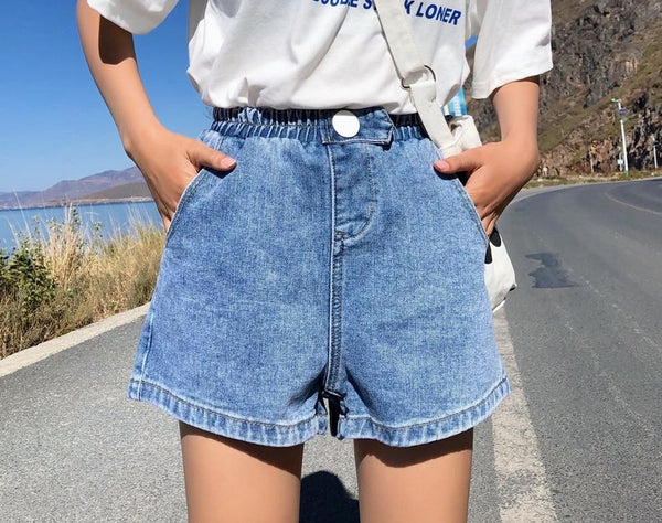 Women's High Waist Wide Leg Denim Shorts