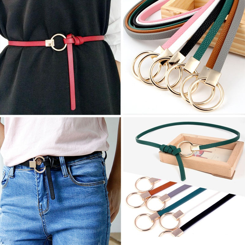 Women's Thin Strap Leather Belt