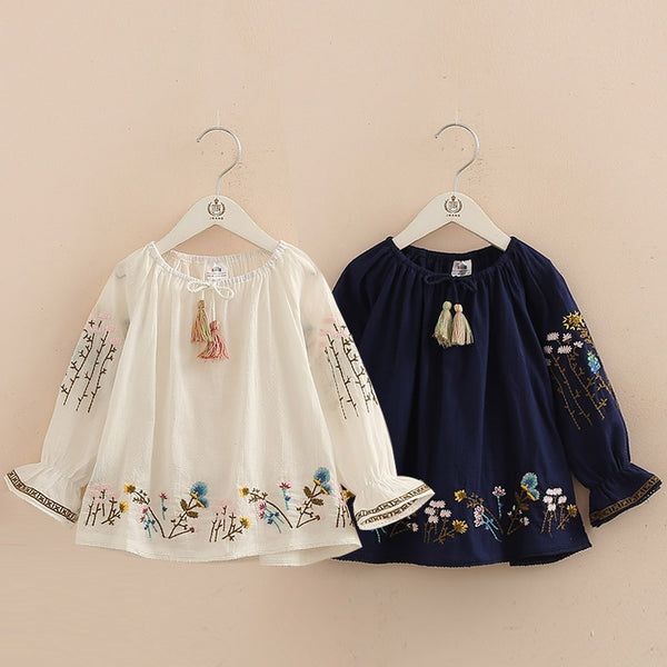 Kid's Girls Blue White Floral Loose Top