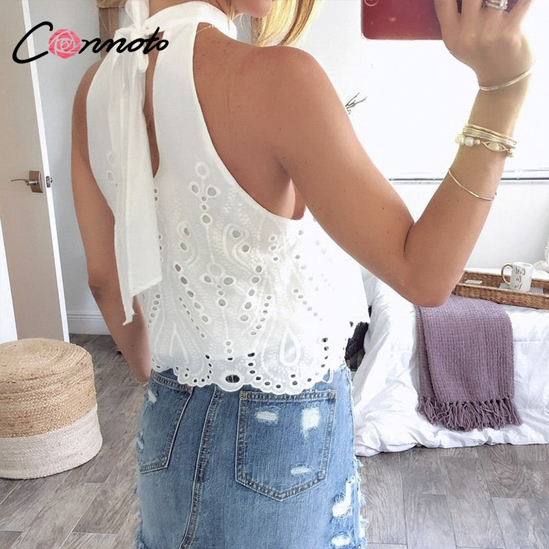 Women's White Embroidery Halter Crop Top