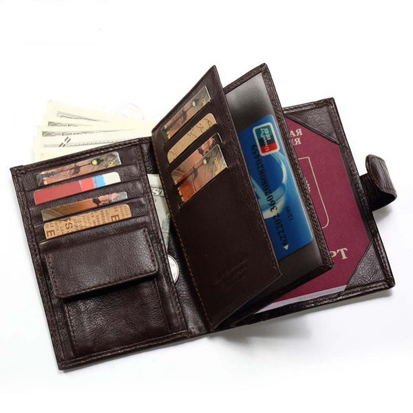 Men's Genuine Leather Wallet with Passport Holder